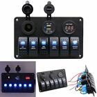 6 Gang Waterproof Car Marine Boat Car Circuit Led Rocker Switch Panel Breaker