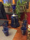 Bohemian Made in Italy MURANO? COBALT BLUE GOLD Overlay DECANTER Set
