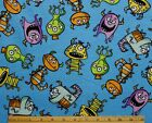 SNUGGLE FLANNEL FUNNY MONSTERS on BLUE 100 Cotton Fabric NEW 1 yd