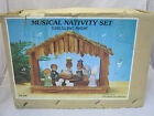 Vintage 9 pc Nativity Set Music Box Musical Plays SILENT NIGHT House Of Lloyd EC