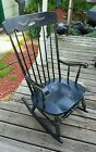 Vintage Adult Spindle Back Rocking Chair-Black with Arms-Gold Accents-Americana