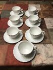 7 Johnson Bros REGENCY Snowhite Swirl Flat Cup and Saucer Sets England
