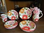 10 pc. BY HOME DINNERWARE LARGE FLOWERS DESIGN DINNER SALAD PITCHER VASE