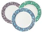1 CORELLE Boutique PRECIOUS COLORS Wide Rim DINNER or LUNCH PLATE *Mosaic Tiles