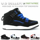 Kids Boys High Top Sneakers Skateboard Shoes Tennis Faux Leather Ankle Boots