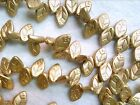 VTG 50 GOLD LEAVES special purchase GLASS BEAD DROP 12X7mm 060116p