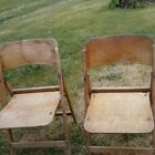 Two  Vintage/ Antique Wood Wooden Folding Chairs