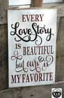 LARGE Rustic Primitive Sign Every Love Story Beautiful Wedding Distressed Wood