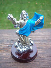 ADORABLE FIGURINE OF JESUS SILVER WITH A BLUE CAPE AND BROWN BASE