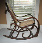 VINTAGE CHILDS OR DOLL BENT WOOD CANE SMALL ROCKER ROCKING CHAIR