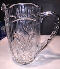 Vintage Crystal Pitcher With Cut And Etched Floral Details