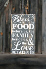 LARGE Primitive Wooden Sign Bless The Food Kitchen Rustic Distressed Country