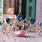 Vintage Wedding Bridal Blue Crystal Queen Pageant Crown Tiara Headband Jewelry