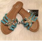 385 Fifth brand teal Blue starfish jeweled slides sandals NWT Size 7