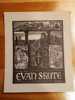 Ex Libris Bookplate for Evan Shute signed woodcut illustration family Knight