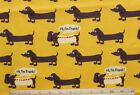 SNUGGLE FLANNELHi Im Frank DACHSHUND DOGS on YELLOW Cotton FabricNEWBTY