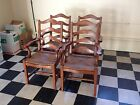 Antique 4 Ladder Back Distressed Cherry Wood Dining Table Chairs with Rush Seats
