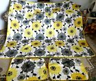 YELLOW, BLACK, GRAY, WHITE FLORAL QUEEN SIZE QUILT WITH MATCHING SHAMS~PERECT