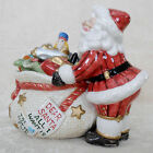 FITZ & FLOYD Lidded SANTA CANDY DISH Box SANTA'S TOY BAG Candy Christmas EUC