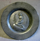 Vintage handmade in Denmark pewter decorative plate