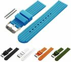 BARTON Watch Bands Width 22mm Soft Silicone Blue Rubber wrist