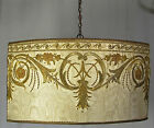 Chandelier Hanging Shade Pendant Light 1930s Antique Fabric Repurposed Custom