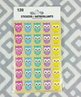 Colorful Owl Stickers 120 Birthday Baby Shower Decoration Party Favor NEW Animal