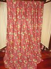 WAVERLY FELICITE RED CRIMSON GREEN CINNAMON FLORAL (PAIR) FABRIC PANELS 49 X 82