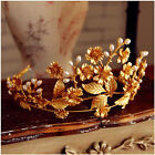 Vintage Wedding Queen Crown Tiara Bridal Crystal Headpiece Leaf Headband Jewelry