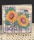 Corelle Coordinates Sunsations Coasters Cork Back Set of 6 Sunflower Unused OP