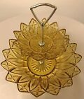 Amber Glass Crystal Vintage 2 tier Serving Tidbit Party Tray Dish