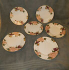 6 Fitz and Floyd Cloisonne Peony White 323 Salad Plates