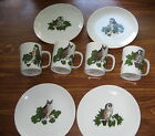 Vtg Fitz & Floyd Owl Mugs & Plates Variations SET LOT 8 Pcs Pristine W label '79