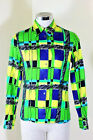 Vintage VERSACE Jeans Couture Green Cotton Long Sleeve Shirt Top Small 2 3 4