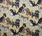 SNUGGLE FLANNEL  PUPPY DOGS Poodle Pug Shepherd on TAN Cotton FabricNEW BTY