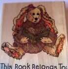 Boyds Bears Daphne Book Plate Rubber Stamp by Uptown Bunny Rabbit H21097 Reading