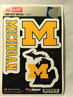 Michigan Wolverines Set of 3 Die Cut Decal Stickers State Outline Free Shipping