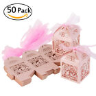 50Pcs Love Heart Favor Ribbon Gift Box Candy Boxes Wedding Party Decor