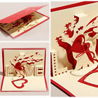 Valentines Day 3D Greeting Cards Handmade Paper cut Folding Gift Card Postcards