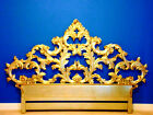 RARE Stunning Vintage Italian Baroque Gold Gilt Carved Wood King Headboard Bed