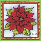 CHRISTMAS POINSETTIA BLOSSOM Wood Mounted Rubber Stamp NORTHWOODS PP10110 New