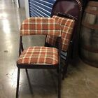 Retro 1970s burnt orange and brown plaid folding chairs set of 4