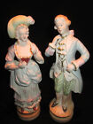 Bisque Porcelain Lady and Gentleman Old FERN Hand Painted 1700's Appearal  Japan