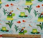 SNUGGLE FLANNEL TURTLESFROGS  DRAGONFLIES on AQUA 100 Cotton Fabric NEW BTY