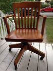 Vintage Wood Swivel Tilt Desk Chair Office Arm Chair Antique