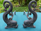 Antique Bradley and Hubbard Figural Cast Iron Dolphin Andirons  #9512