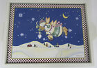 Debbie Mumm Snow Angel Village Snowman Christmas Holiday Wooden Serving Tray