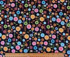 SNUGGLE FLANNEL  MULTI COLOR FLOWERS on BLACK 100 Cotton Fabric NEW BTY