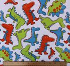 SNUGGLE FLANNEL COLORFUL DINOSAUR SKETCHES on WHITE 100 Cotton Fabric NEW BTY
