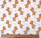 SNUGGLE FLANNEL HAPPY YELLOW GIRAFFE on WHITE 100 Cotton Fabric BTY